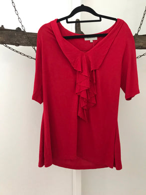 Veronika Maine red 3/4 sleeve with lapel ruffles Size L ( estimated 12-14)
