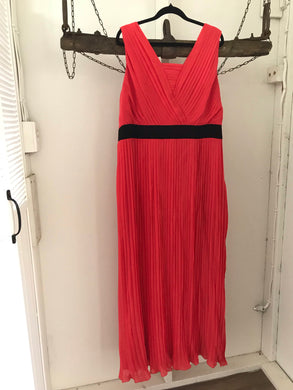 Grace Hill  orange long pleated dress with black waist band Size 18