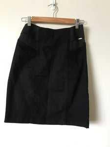 Portmans black straight denim skirt with elastic sides Size 10