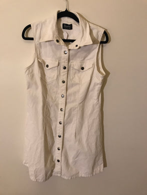 Bardot denim white collared dress size 12