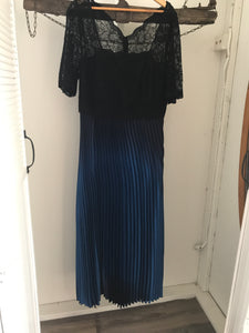 No label black lace and satin blue pleateded long evening dress Size 18