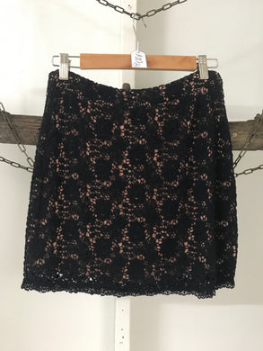 Kimchi Black Crochet with Salmon lining Skirt Size 6