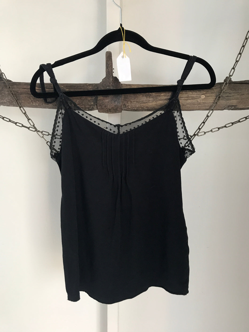 Just Jeans Black Lacey Singlet Top Size Small