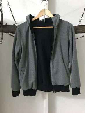 No Label Grey/ Black Hoodie Jacket Size M (10)