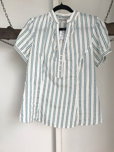 Barkins White/green Stripes Blouse Size 10