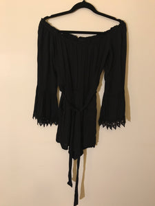 Bardot black off the shoulder jumpsuit with tie Size 12