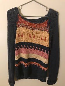 Maison Scotch steel blue and Coloured knit jumper Size 6-8 (estimate)