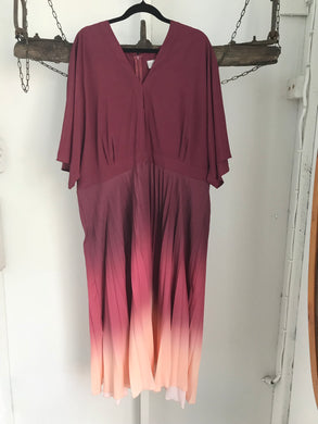 ASOS maroon/pink pleated dress with sleeves Size 22