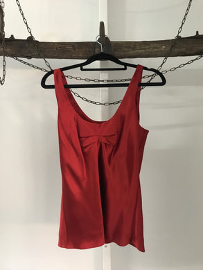 Morrissey red 100% silk sleeveless top Size 1 (estimated 8)