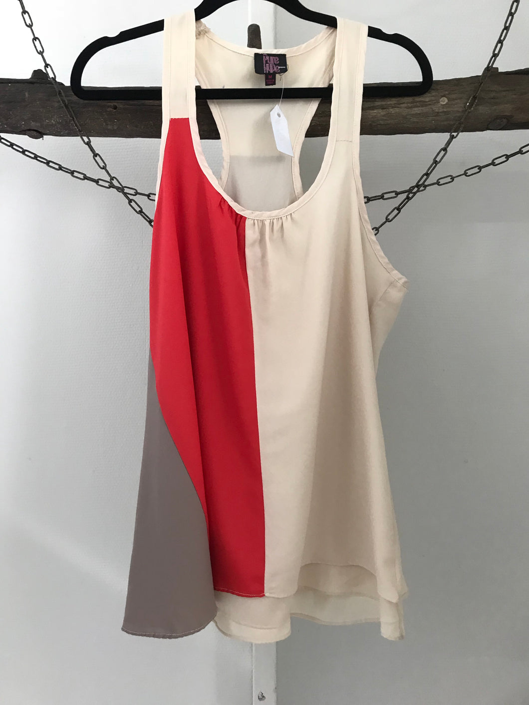 Pure Hype orange/cream swing sleeveless top Size M (estimated 10)
