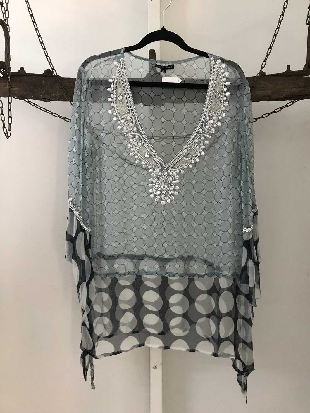 East meets West grey/navy spot with gem neckline Sheer top Size S ( estimated 10)