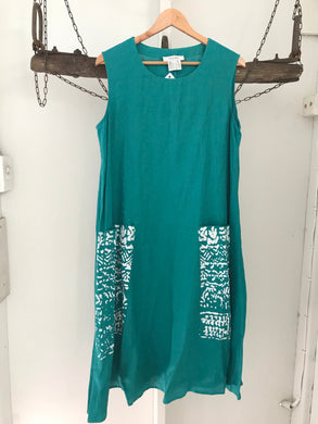 Anne Kelly green with white print pockets smock linen dress Size 18