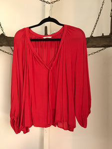 Gorman Red Peasant Blouse Size Medium (12-14 estimate)