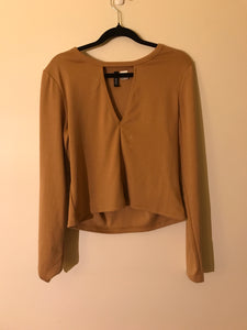 Divided brown long sleeve top, size L (estimated 12)