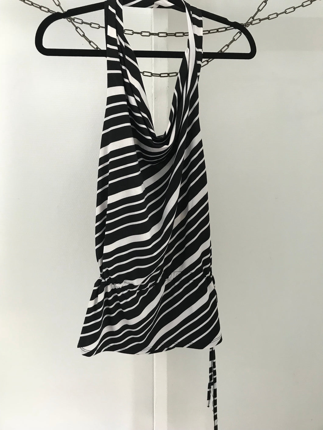 Jeans west black/white striped halter top Size XS (estimated 8)