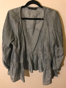 Zara Woman silvery-blue puff sleeve blouse silk Size Medium (10-12 estimate)