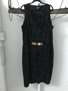 City Chic black floral dress sewn in belt Size M (estimated 18)