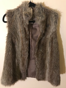 GirlXpress faux fur grey/brown vest Size 10