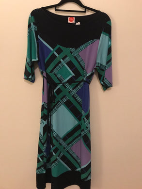 Leona blue/green geometric sleeve dress Size 2 (estimated 12)