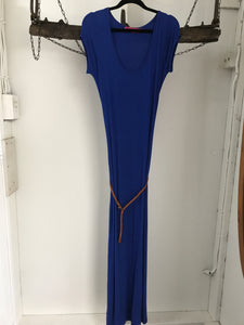 Boohoo Blue Maxi Dress with Belt Size 14