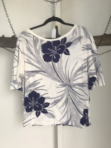 Country Road Blue White Floral Batwing Top Size XXS