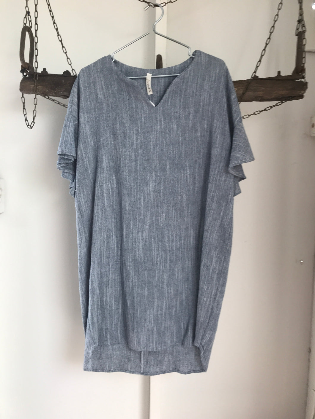 Love In Blue Ruffle Sleeves Dress Size 14