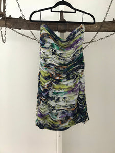 Morrison green/purple/orange print strapless dress Size S estimated 8