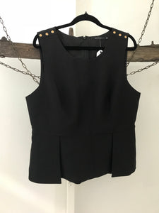 Portmans Black sleeveless top with gold shoulder buttons Size 16