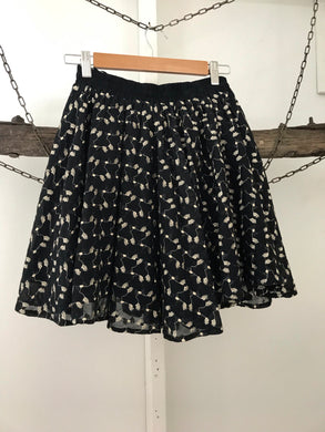 Valerie Tolosa black elastic waist skirt  with gold embroidery Size 8