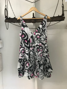 Wayne Cooper pink/black and white ruffle dress Size 2 (estimated 14)