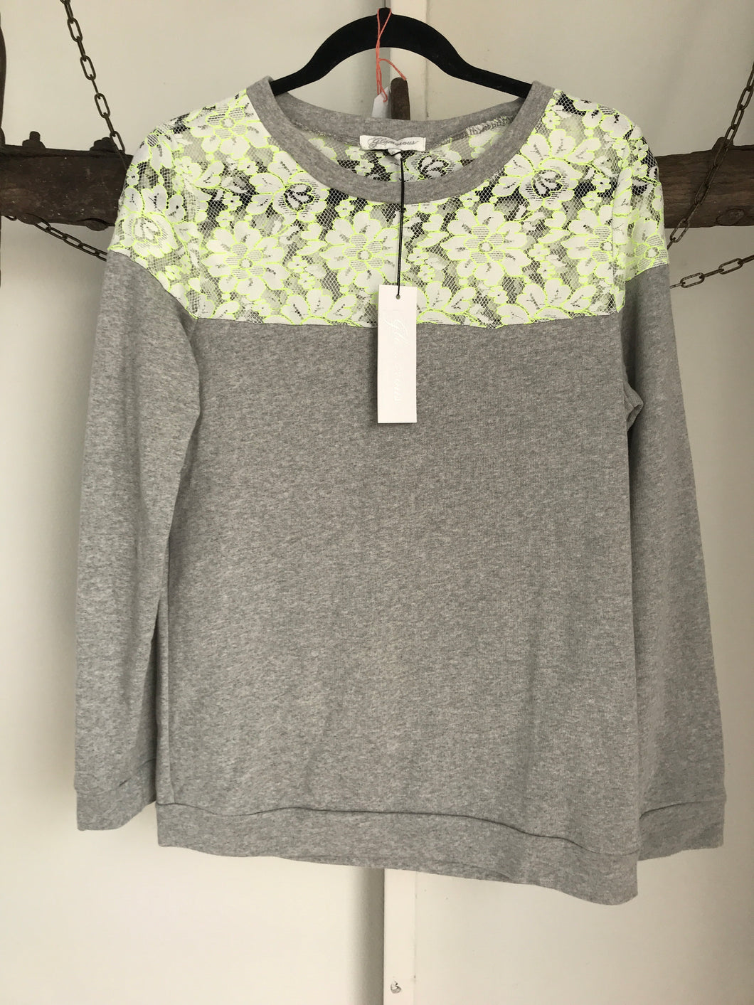 Glamorous Long Sleeve Grey Top Size S (10) NWT