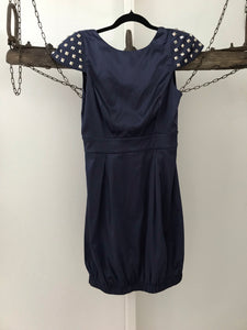 Abyss midnight blue with studded sleeves and backless dress Size S estimated 8