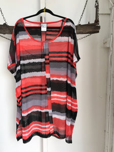 TS Red/Black/grey Top Stripe Size S (16)