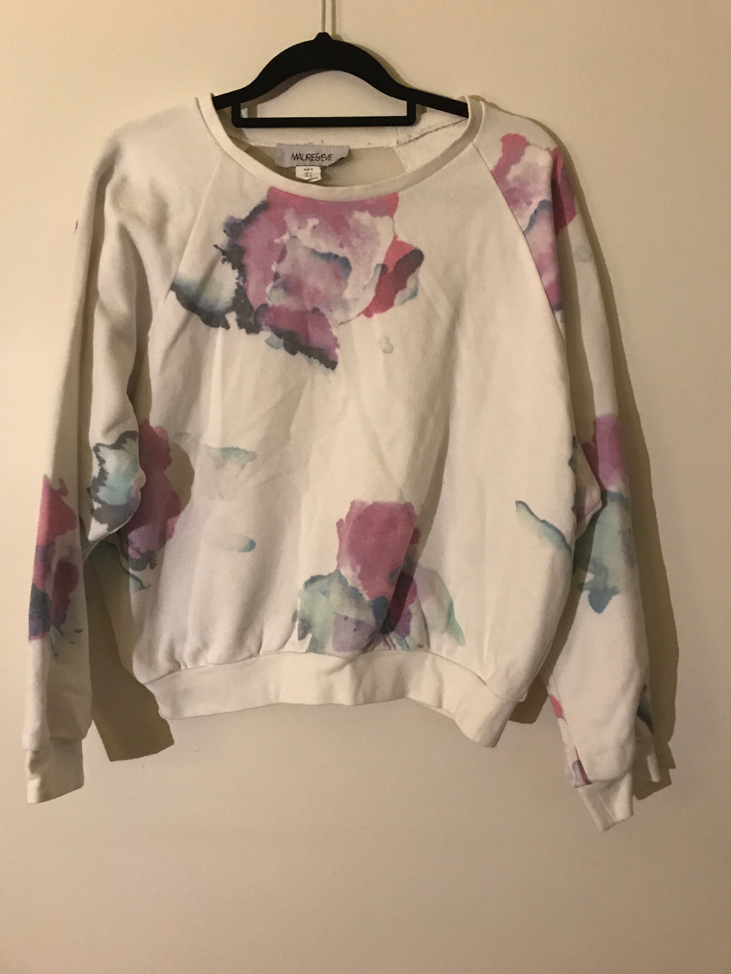 Maurie & Eve pink water paint jumper with sheer back Size 8