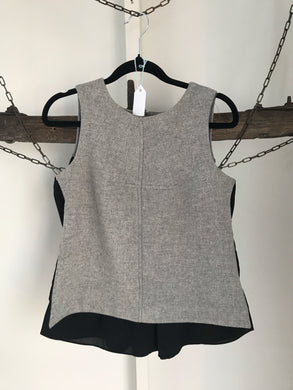 Cue Grey/Black Sleeveless Top Size 6