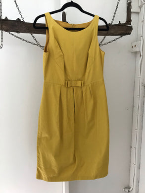 Barkins mustard linen dress with waist bow Size 12