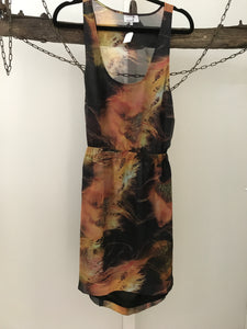 Russh orange/yellow/brown print dress backless size12