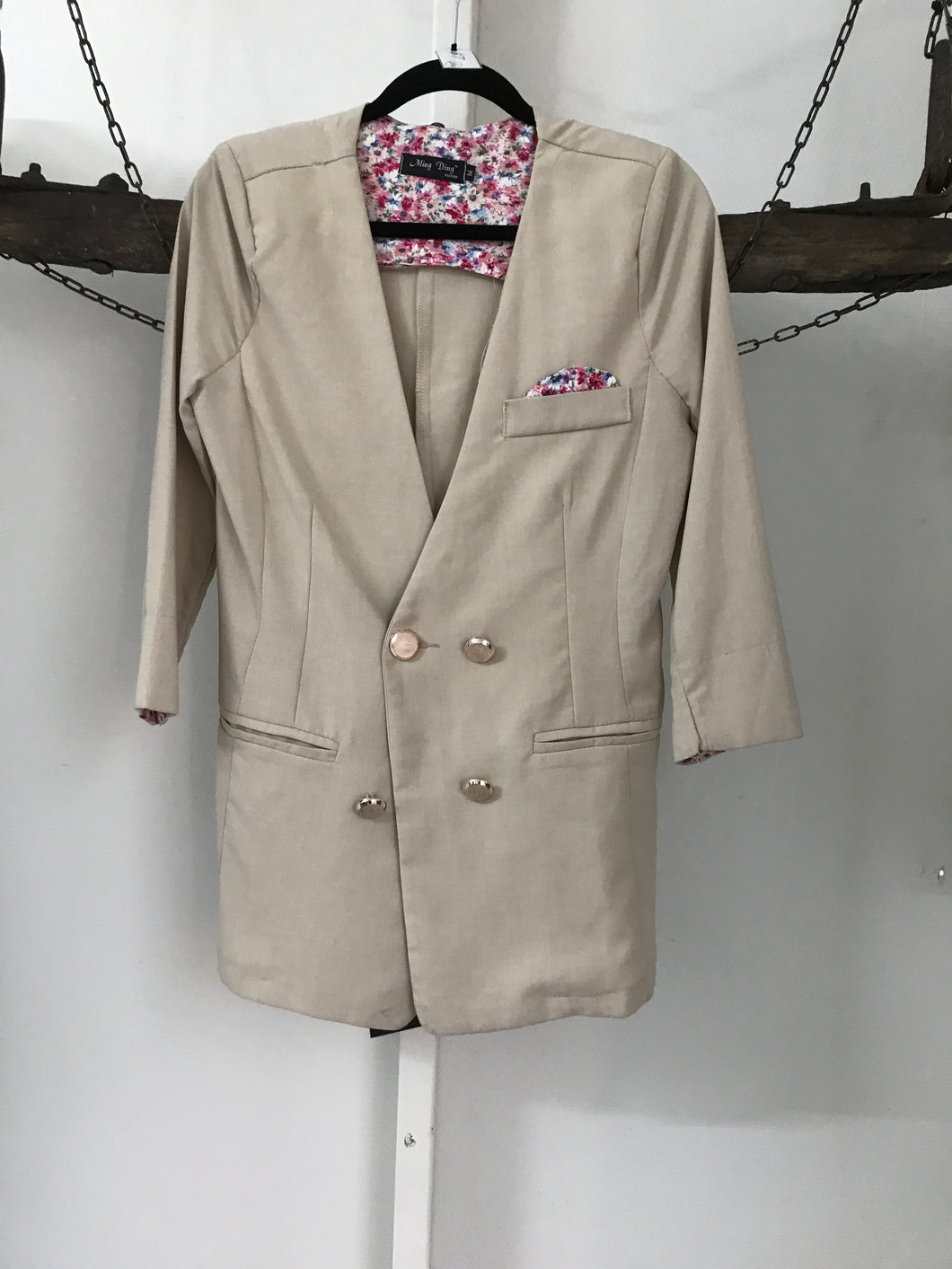 Ming Ding Beige Double Breasted Jacket Size M 8-10