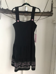 Kate Hurst Black Pink Pattern Pinafore Dress Size 10 NWT