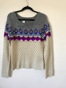 No label purple/blue/orange print knit