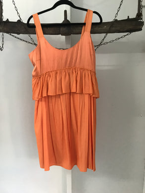 Witchery orange silk ruffle dress size 12