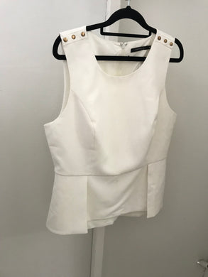 Portmans off white peplum style top with gold shoulder studs Size 16