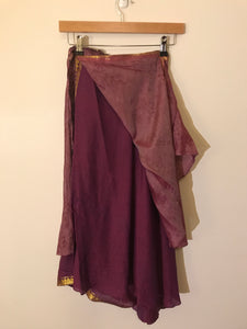 No label purple with gold trims wrap-around skirt One-size-fits-all reversible