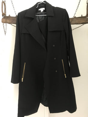 H & M long black double breasted zip jacket Size 12