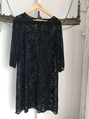 Blue Illusion Black Sheer  Dress Size L (16)