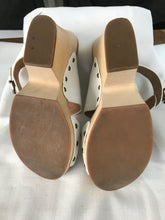 Wittner white leather strappy wooden heels size 38