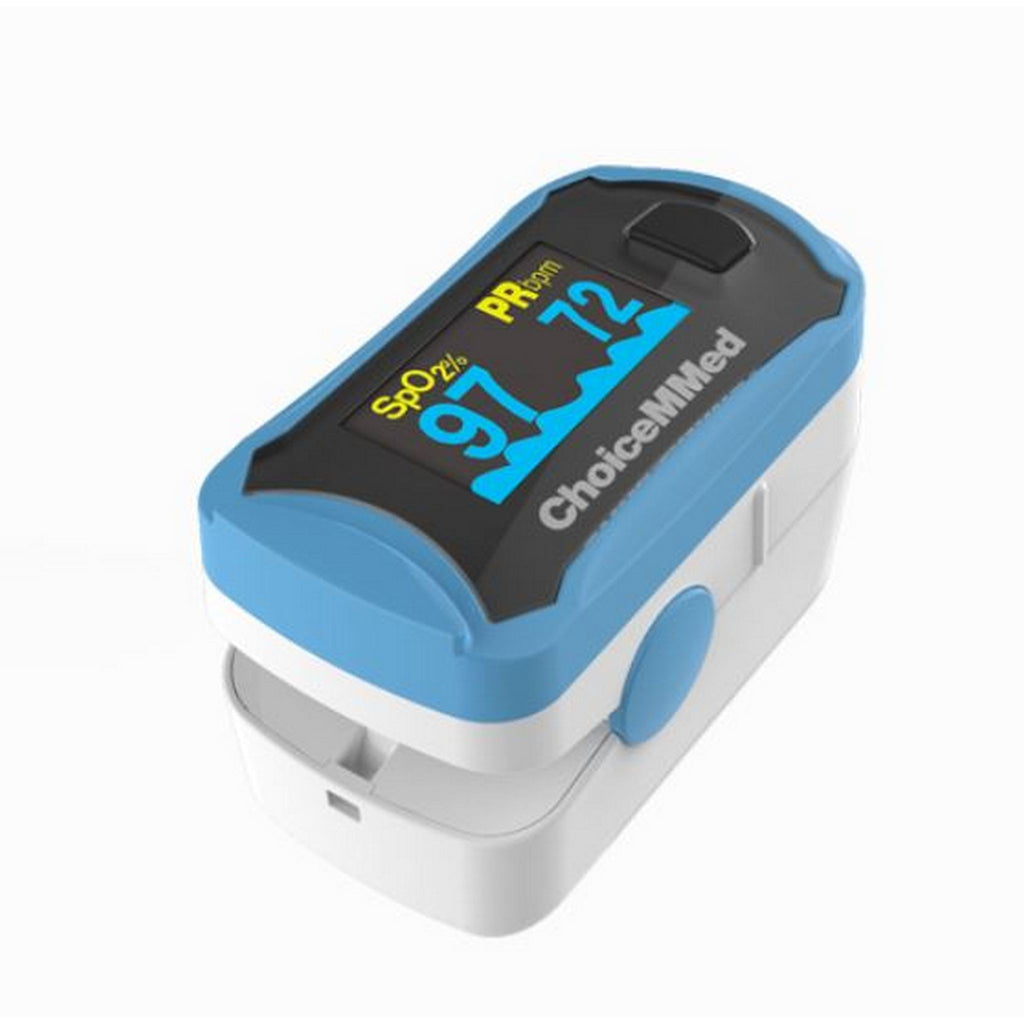 white and light blue pulse oximeter with choicemmed logo angled