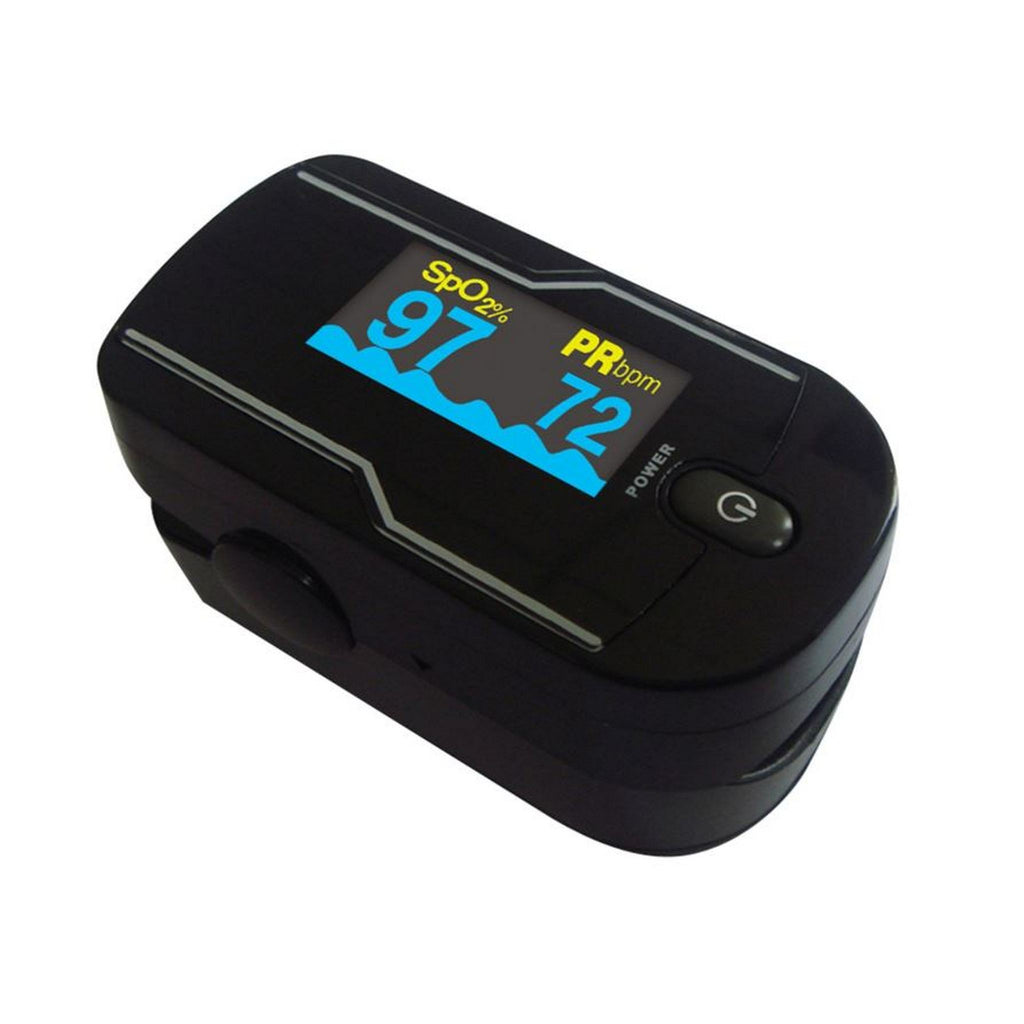 black pulse oximeter with choicemmed logo angled