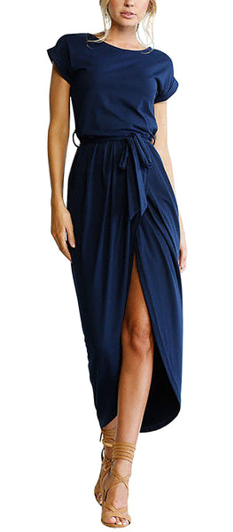 Yidarton Women Ladies Summer Casual Short Sleeve Beach Sundress Slit Long Maxi Dress Navy S