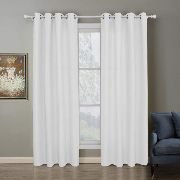 Mai kuu Nickel Grommet Energy Efficiency White Curtains with White Lining for Living Room 55 x 86 Inches Long, 1 Panel